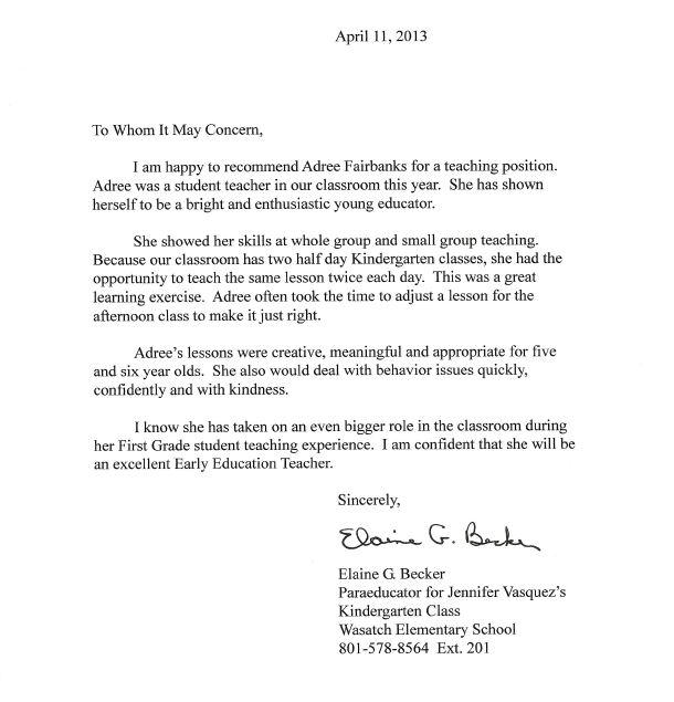 Letters of Recommendation - Adree Fairbanks\u0027 Teaching Portfolio
