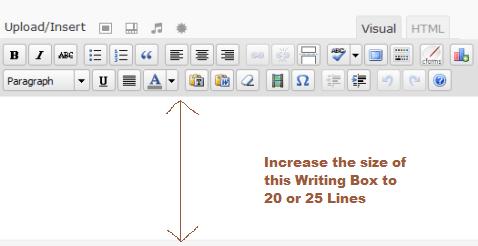 Change the Size of Writing Box