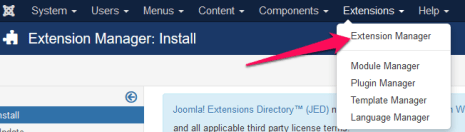 Joomla - extensions manager