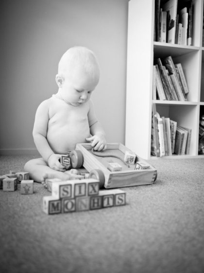 six month old baby black and white image