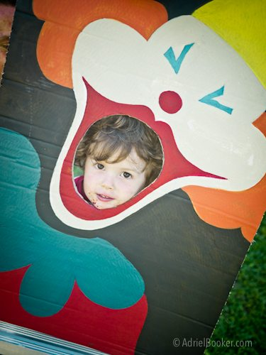 Judah's First Birthday Circus Party - vintage clown bean bag toss party game or photo booth prop.