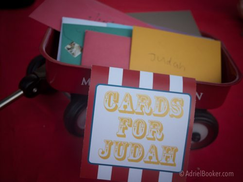 Judah's First Birthday Circus Party – wagon to collect cards.
