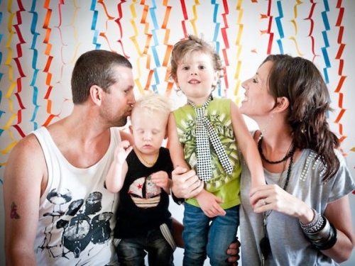 Rockstar Kids Birthday Party - attempting a family photo booth shot
