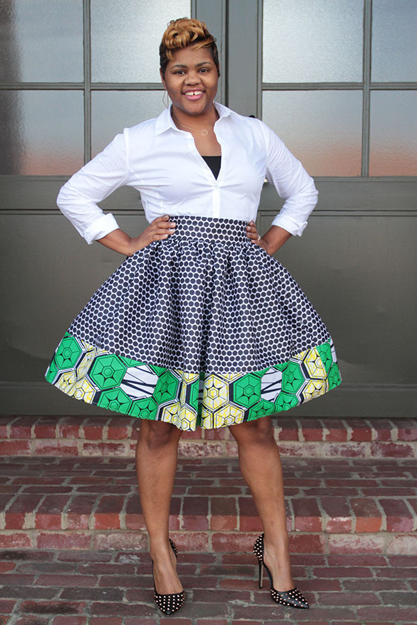 mixed print skirt 2