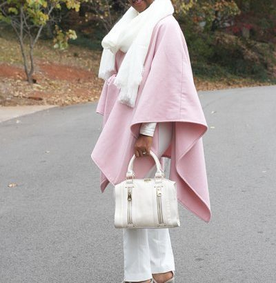 pink wool cape