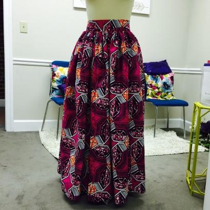 Pink african print skirt