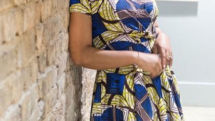 African Print Faux Wrap Dress