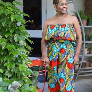 African Print Strapless Ruffle Jumpsuit