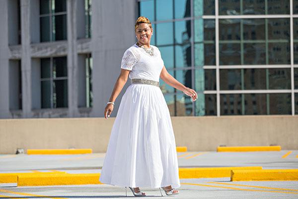White Lace Top + White Full Maxi Skirt