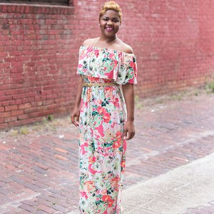 Ruffle Off The Shoulder Maxi Dress with Pockets
