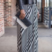 Pleated Maxi Skirt w/Faux Leather Waist Band