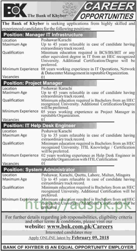 Bank of Khyber Jobs 2018 Manager IT Infrastructure Project Manager