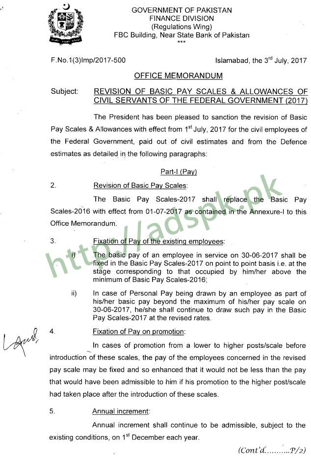 New Estimated Revised Pay Scale Chart 2017-2018 with Adhoc Relief