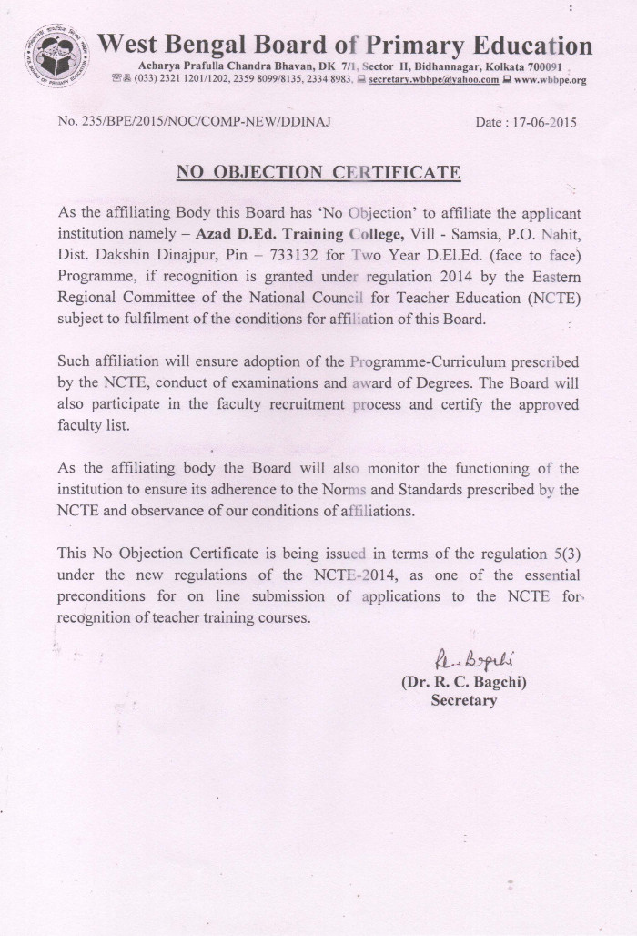No Objection Certificate \u2013 AZAD DED TRAINING COLLEGE