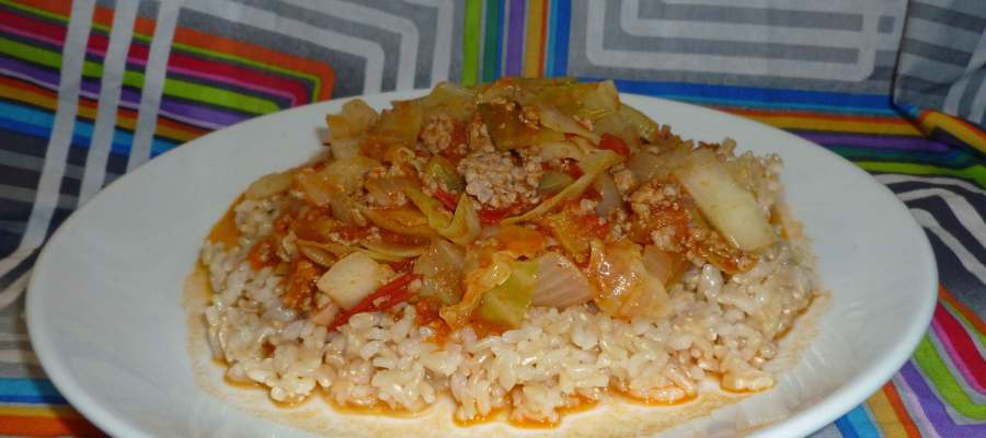 Unstuffed Cabbage Rolls over rice