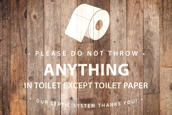 Septic System Bathroom Signs and Poems For Sensitive Plumbing