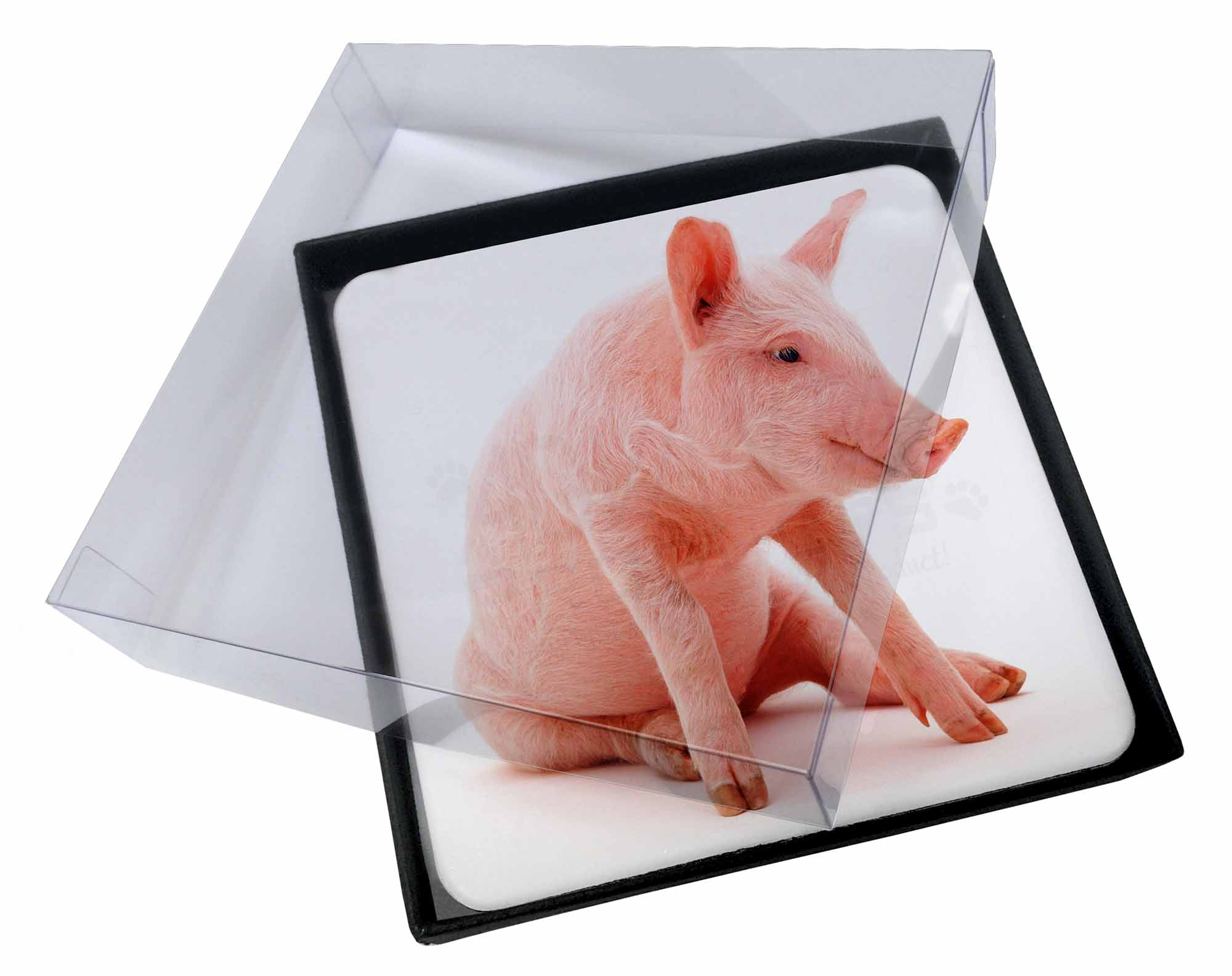 Pig Coasters 4x Cute Pink Pig Picture Table Coasters Set In Gift Box