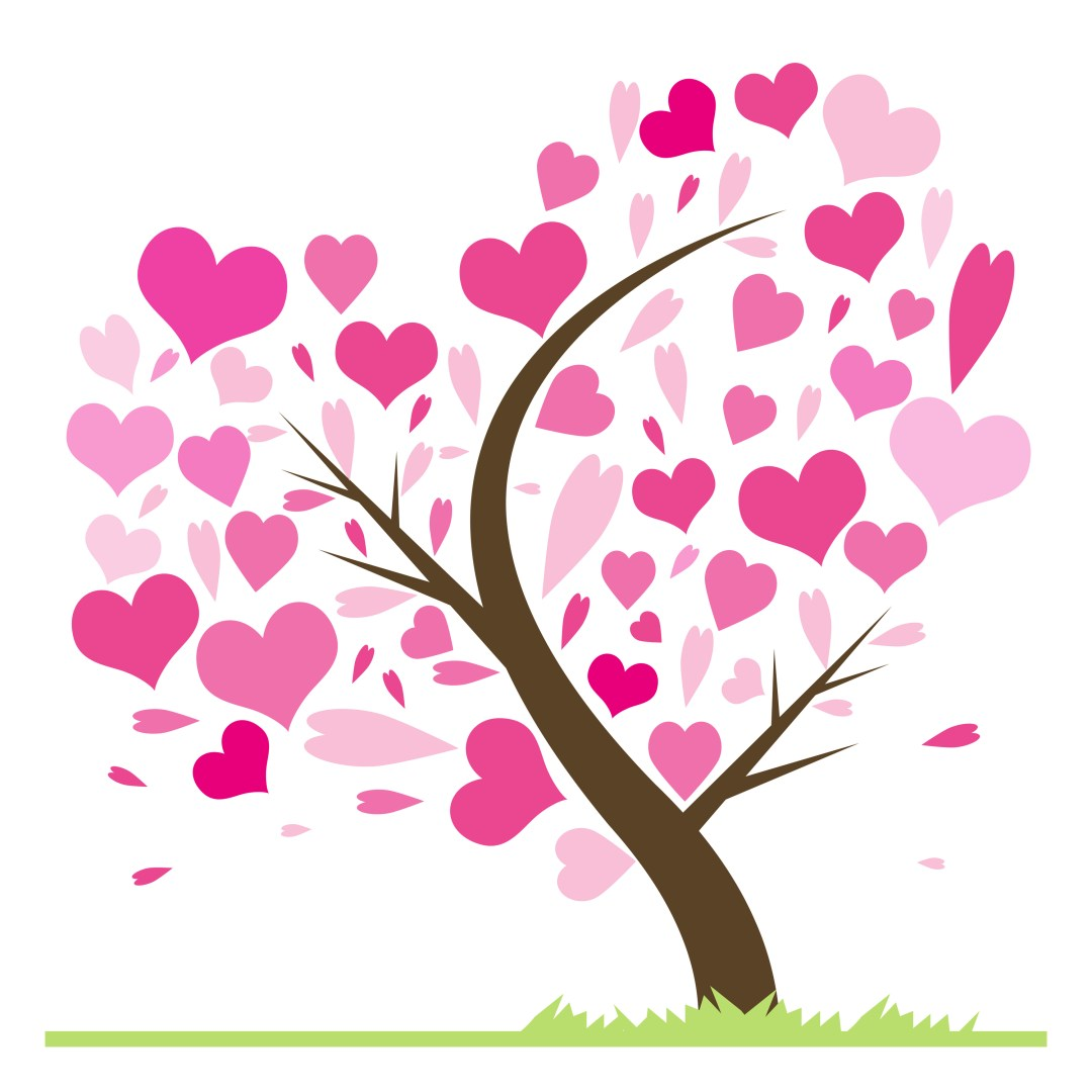 Beautiful abstract love tree with hearts. Heart tree greeting card illustration. Valentine tree love leaf from hearts.