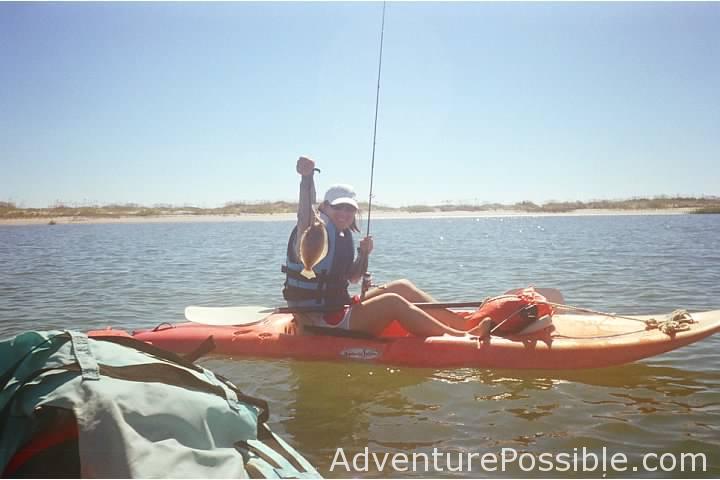 Flounder caught kayak fishing