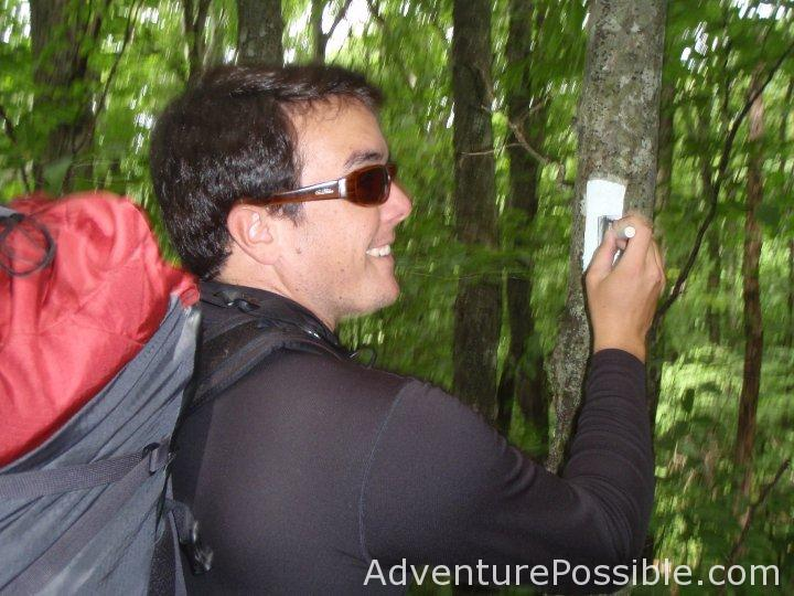 The author refreshing the paint on a White Blaze on the Appalachian Trail