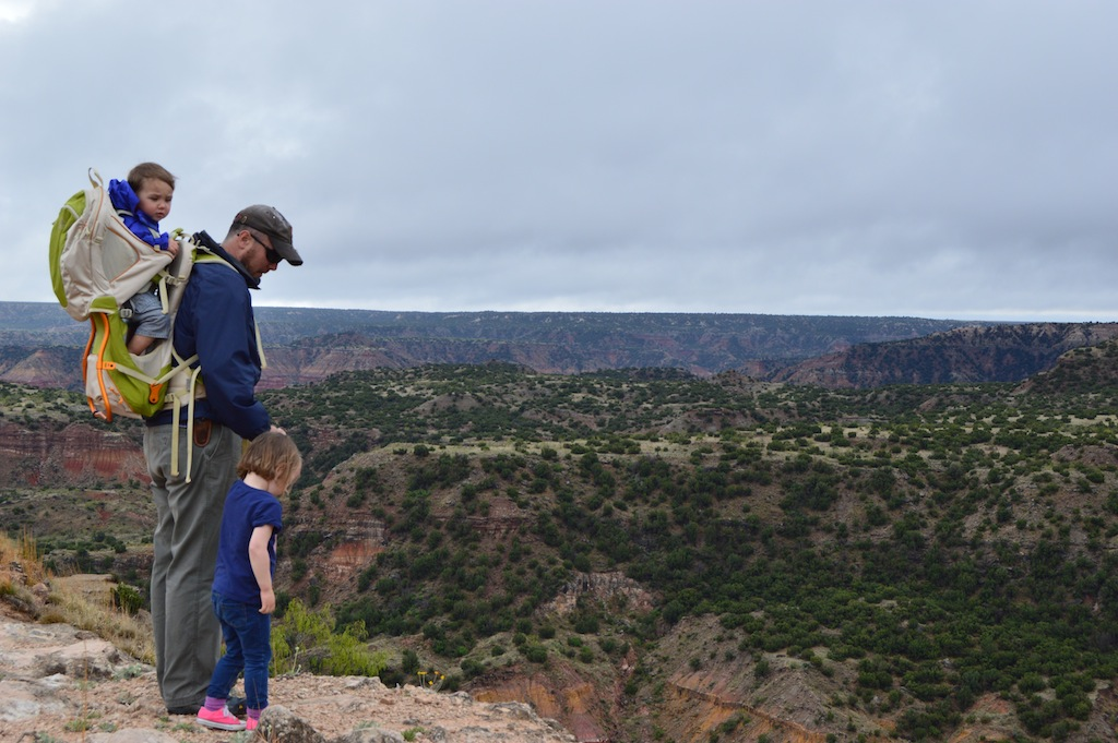 Wilson, Jane and dad on the rim of Palo Duro Canyon.
