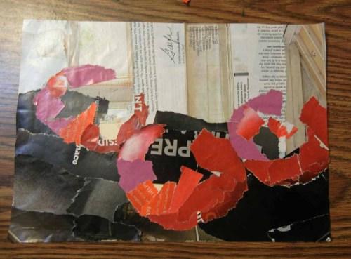 Ellen Lindner, torn paper collage. AdventureQuilter.com/blog