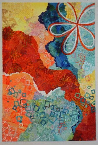 An abstract quilt by Ellen Lindner in-progress. AdventureQuilter.com/blog