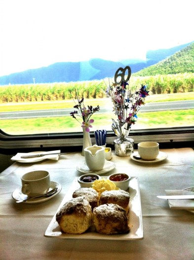 Tea onboard the Sunlander Train