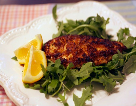 lemon panko chicken on arugula