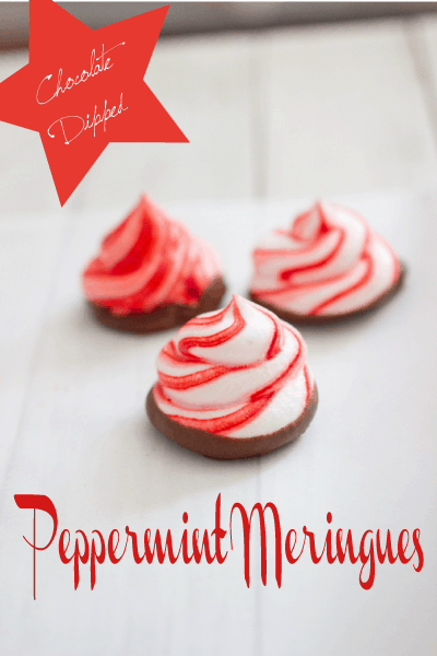 chocolate dipped peppermint meringues
