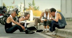"""Taiwan's TC Bank television commercial """"Dream Rangers"""": Old friends eating together on the road."""