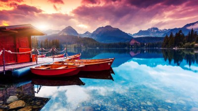 lake boat beautiful scenery 4k ultra hd wallpaper » High quality walls
