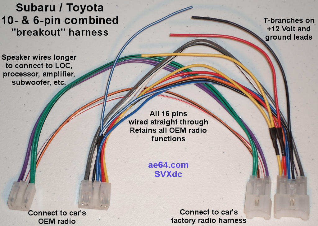 10- and 6-pin combined wiring Harness for Subaru Impreza, Forester