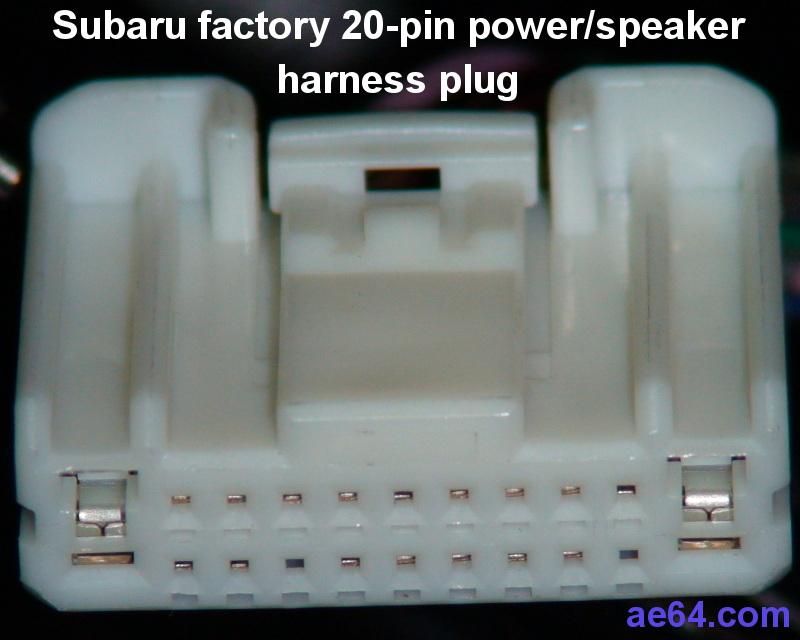 Subaru 20-pin radio harness pin-out