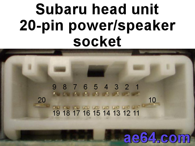 Subaru 20-pin radio harness pin-out