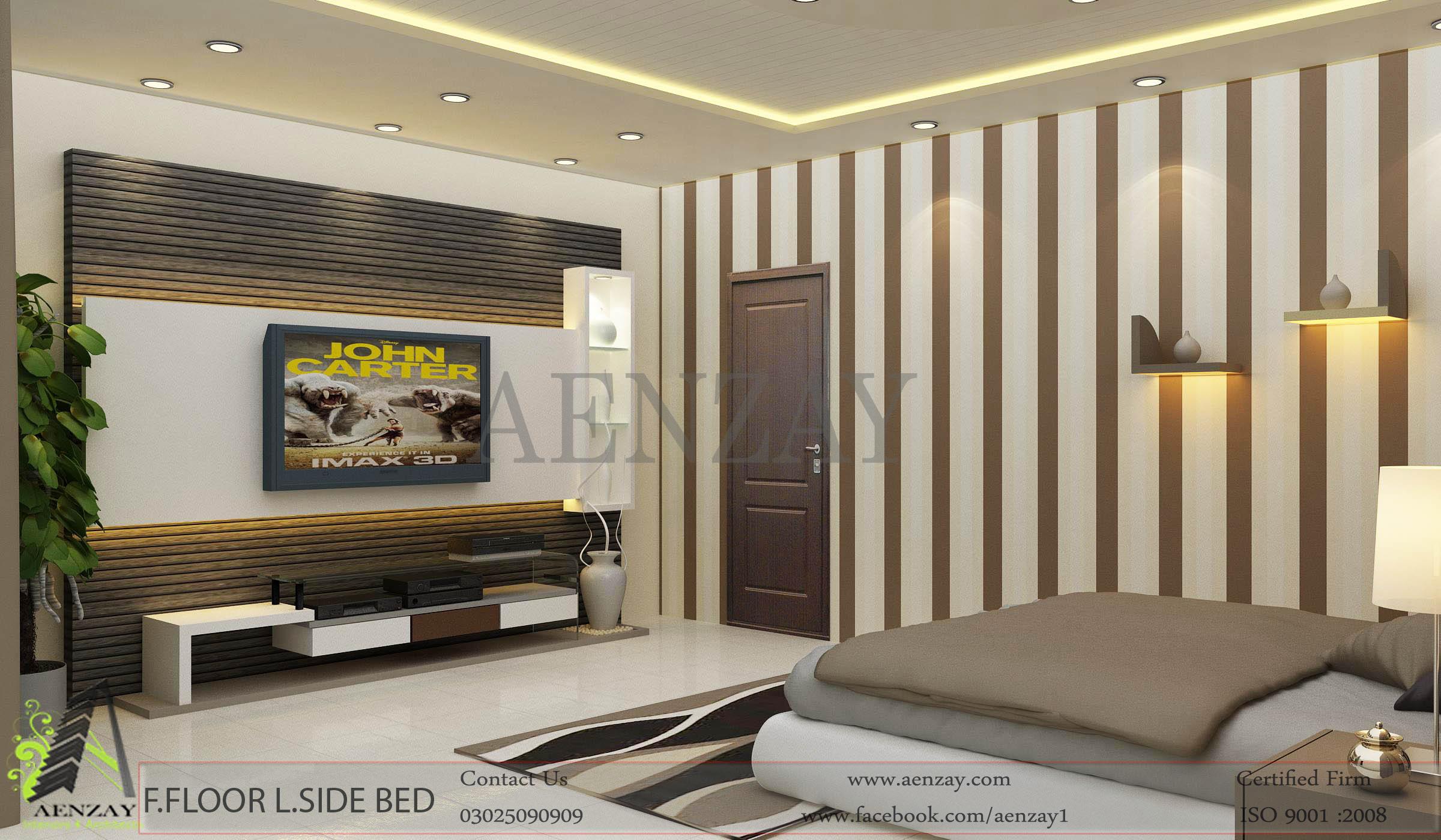 Bushra 3d Wallpaper Master Bedroom Interior Design Aenzay Interiors