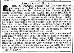 Last Island Hotel Advertisement (The Times-Picayune, 1854)