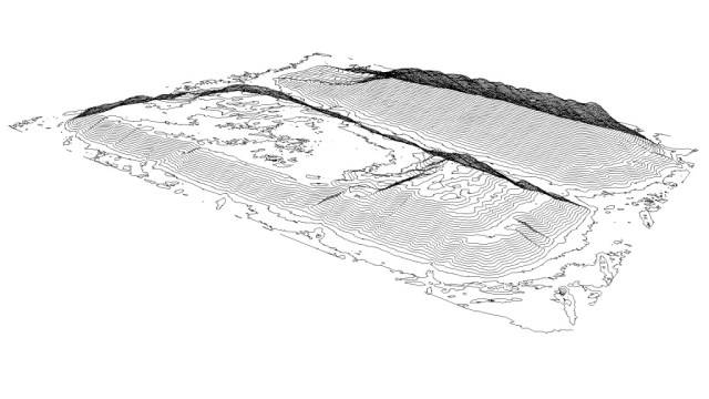 1 ft contour map auto-generated from terrain model (Aero-Data).