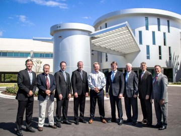 The Satcom Direct leadership team outside Florida HQ