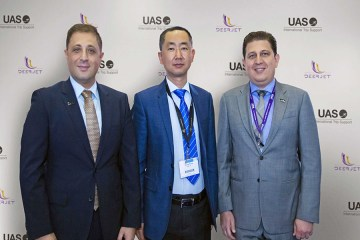 From left to right: Mr. Omar Hosari, UAS Chief Executive Officer, Mr. Zhang Peng,Deer Jet Chairman and CEO, and Mr. Mohammed Husary, UAS Executive President. #thenewscompany #aerobdnews
