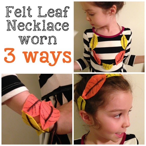 DIY felt leaf necklace worn 3 ways | FabKids guest post