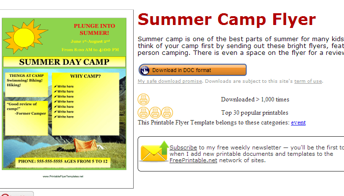 summer camp flyer template word - Flyer Outline