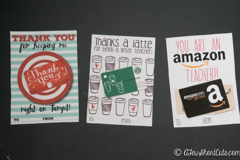 Free Teacher Gift Card Printable Thank You Card  Idea - A Few Shortcuts