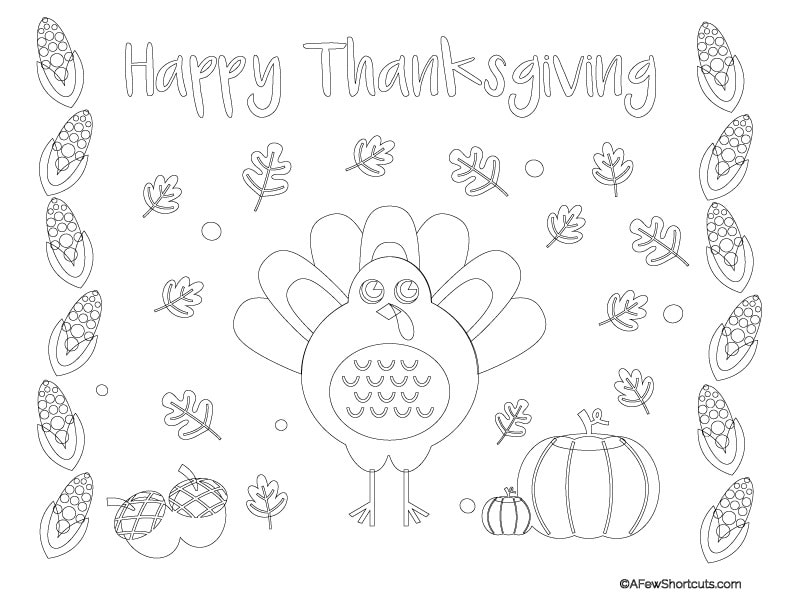 Printable Thanksgiving Coloring Page Placemat for Kids - A Few Shortcuts