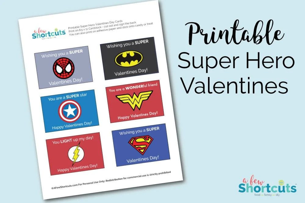 Free Printable Super Hero Valentines Cards - A Few Shortcuts
