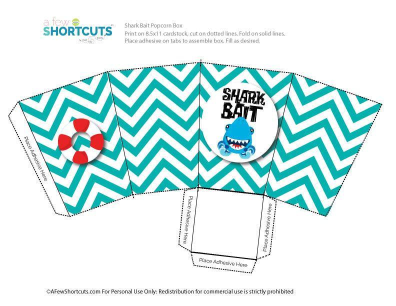 Shark Bait Popcorn Box Printable - A Few Shortcuts