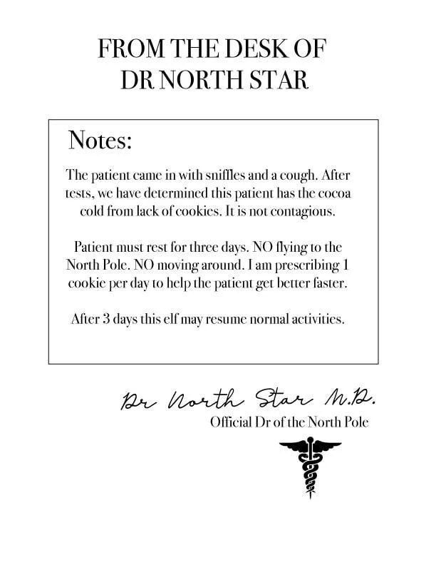 Elf on The Shelf Printable Doctor\u0027s Note - A Few Shortcuts