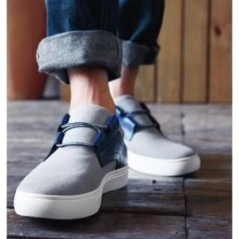 Genuine Leather Panel Canvas Slip-Ons