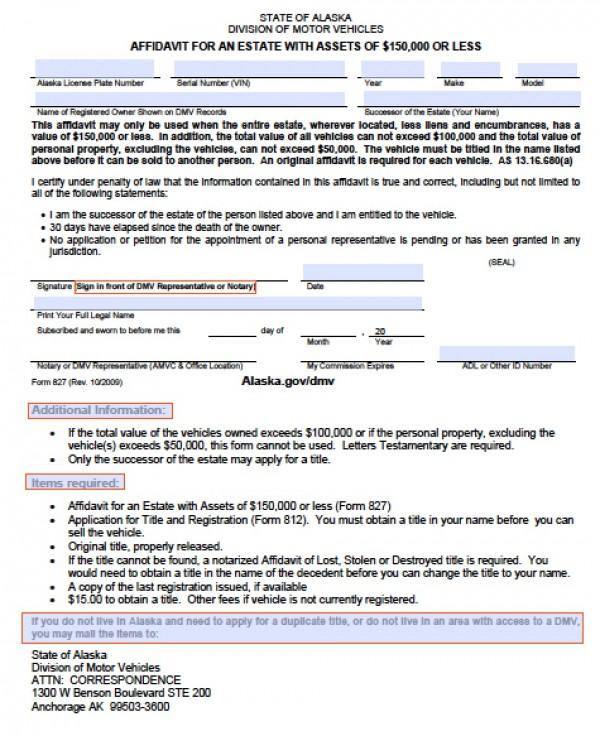 Free Alaska Motor Vehicle (DMV) Affidavit for an Estate Form PDF