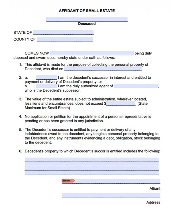Free Small Estate Affidavit Forms Adobe PDF  MS Word Templates